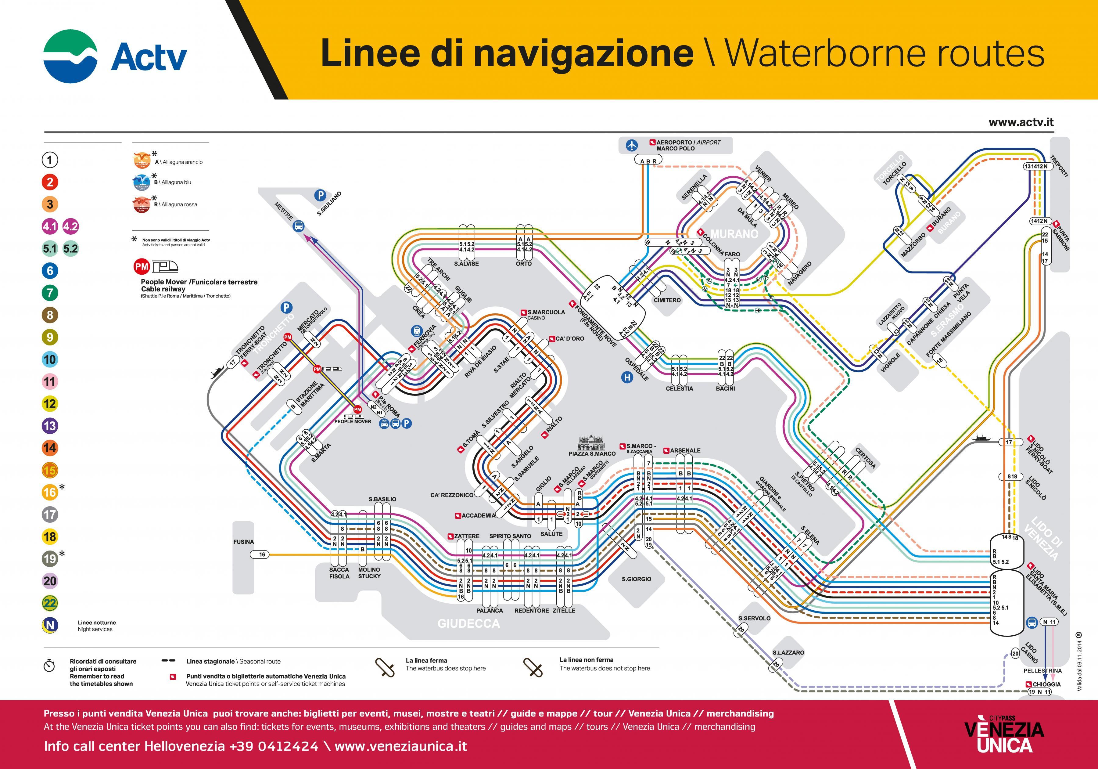 Venetsian Linja Kartta Venezia Bussi Kartta Italia