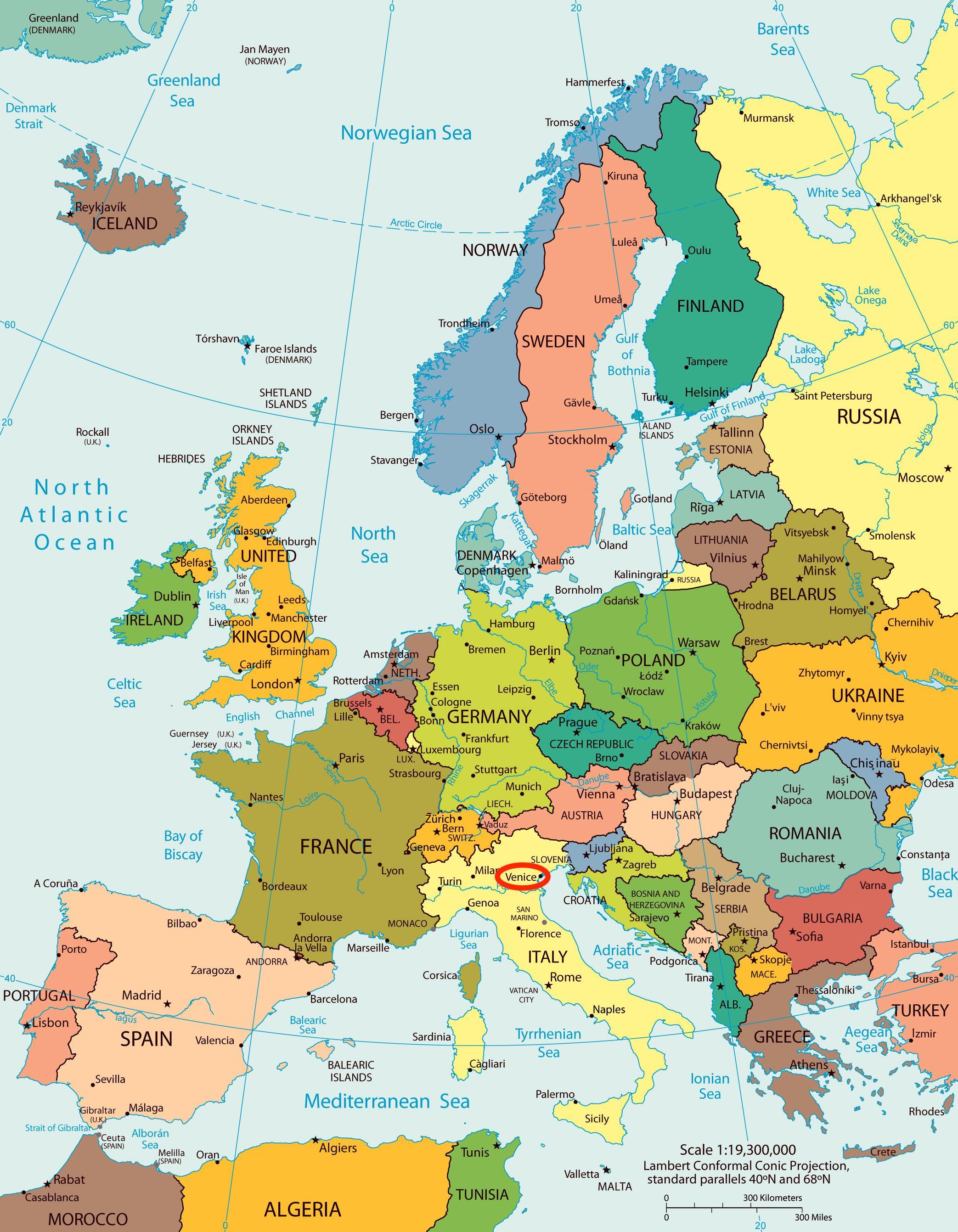 Venetsia Kartta Euroopan Kartta Venetsia Kartta Euroopassa Italia