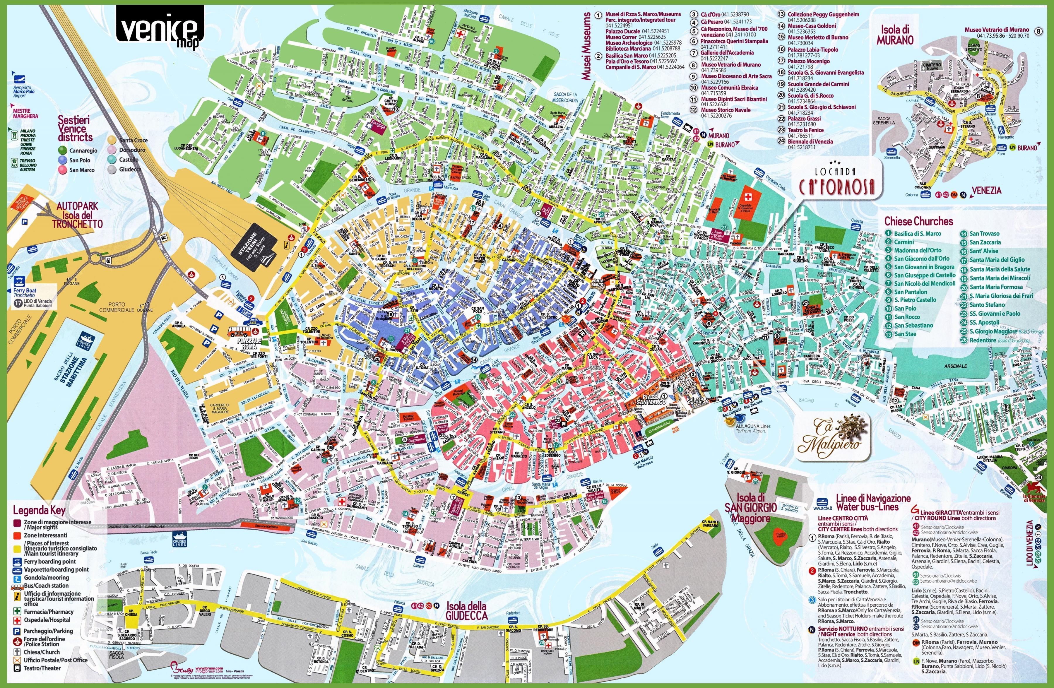 Venetsia Paikkoja Vierailla Kartta Venetsian Tarkeimmat