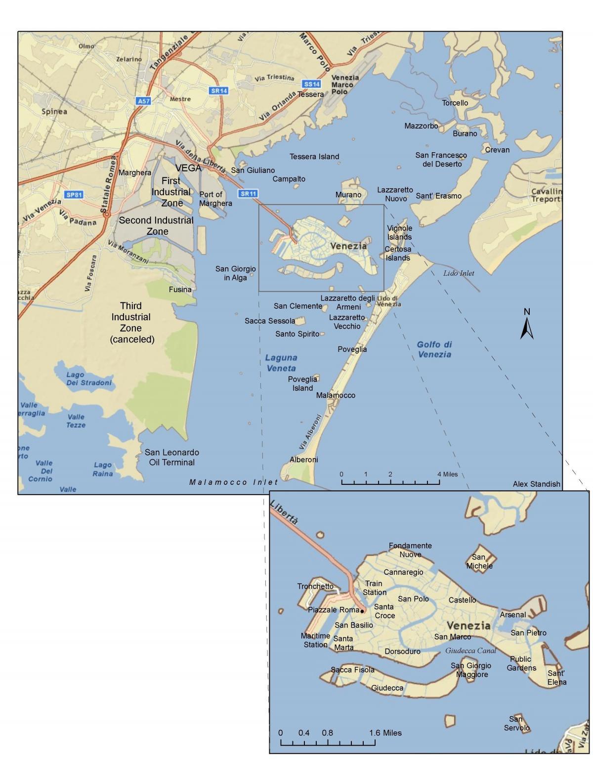 Kartta Venice Island Italia Kartta Saaret Venetsia Italia Italia